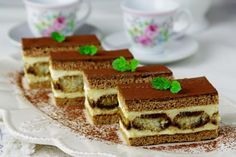 "Medové ""tiramisu"" rezy - My site Czech Recipes, Ethnic Recipes, Sweet Recipes, Cake Recipes, Tiramisu, Waffles, Bakery, Food And Drink, Cooking Recipes"