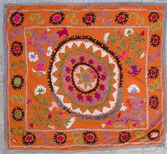 Vintage Bolinpush Suzani Embroidery Samarkand by SilkRoadCaravans, $70.00