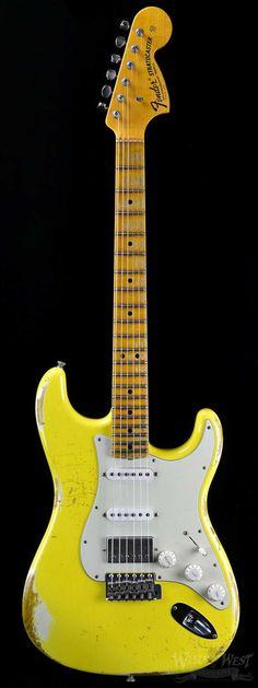 "Fender 1969 Heavy Relic Stratocaster Graffiti Yellow Fat Head ""C"" - Wild West Guitars"