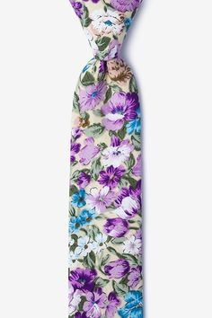 Dominion Skinny Tie Lavender Flowers, Purple Flowers, Tie Out, Groom Ties, Tie Accessories, Hipster Man, Skinny Ties, Cotton Style, Spice Things Up