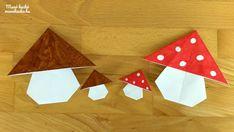 Őszi dekorációs ötletek papírból – Origami: Gomba hajtogatás
