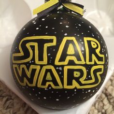 Star Wars Logo Hand Painted Glass Ornament by KaleyCrafts on Etsy