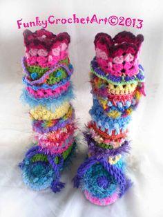 Crochet Slipper Boots/ Leg Warmer Combo Awesome by FunkyCrochetArt, $60.00
