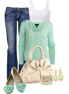 Love that cardigan, and LOVE the gold/mint combo!