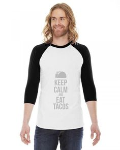 taco mexican keep calm and eat tacos funny 3/4 Sleeve Shirt