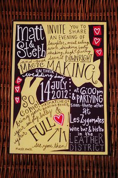Stephanie & Matthew's Wedding featured on Offbeat Bride! Art: Jen O'Donnell from Cut, Paste, Love Unique Invitations, Invitation Paper, Fun Wedding Invitations, Wedding Stationery, Invitation Ideas, Fall Wedding Cakes, Wedding Pins, Diy Wedding, Dream Wedding