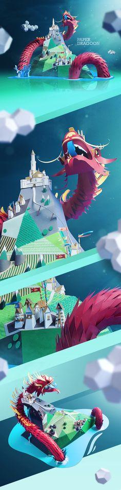 Paper Dragon by INK studio , via Behance