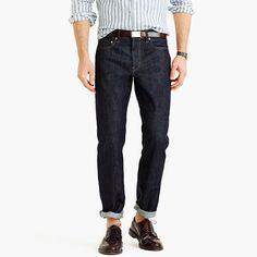 """Formerly known as the slim-straight, the 1040 fit is for guys who like their jeans cut with a classic, straight fit that's always in style. For our denim fabric we went to the Kaihara mill, one of Japan's oldest and most renowned denim producers. This wash replicates a once-washed pair, which is great for the guy who likes the dark denim look but not the whole idea of rigid jeans. <ul><li>Straight fit, with a straight leg (not narrow).</li><li>16"""" leg opening (based on size…"""