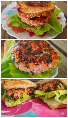 Feta and Spinach Salmon Burger