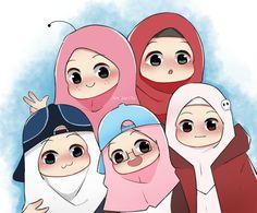 Cartoon Kids, Cartoon Art, Cover Wattpad, Quran Wallpaper, Hijab Drawing, Anime Muslim, Hijab Cartoon, Cute Cartoon Wallpapers, Aesthetic Videos
