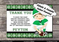 Football Birthday Thank You Card Green and White- Editable Printable Digital File with Instant Download