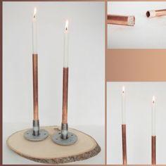 des chandeliers en tube de cuivre