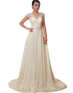 Crystal V Neckline A Line Cap Sleeve Lace Over Satin Wedding Dress 8 Ivory * You can find more details by visiting the image link.