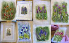 Needlefelt with stitched flowers by Tilly Tea Dance Wool Felt Fabric, Fabric Art, Felted Wool Crafts, Felt Crafts, Felt Pictures, Fabric Brooch, Textiles, Felt Decorations, Felting Tutorials
