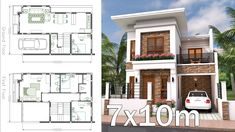 Interior Home Plan 7x10 Meter 4 Bedrooms Home Plan 7x10 Meter description: The House has Cars Parking and garden Ground Level: -Living room -Dining room -Ki