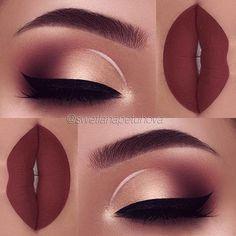 "Brows: @anastasiabeverlyhills brow wiz in ""dark brown"" and brow definer in ""medium brown"", clear brow gel Eyeshadow: @anastasiabeverlyhills modern renaissance palette ""Burnt Orange"", ""Red Ochre"" ""Cyprus Umber"", ""Prima Vera"" Liner: @nyxcosmetics_de white liner and @sigmabeauty wicked gel eyeliner Glitter: @_glittereyes_ Lips: @gerardcosmetics Boss Lady liquid lipstick"