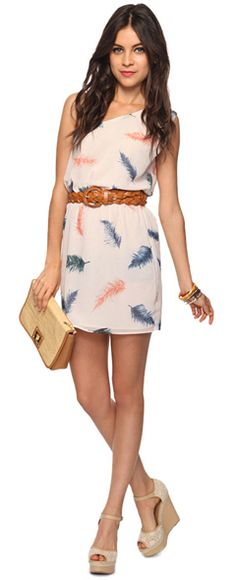 adorable feather detail dress