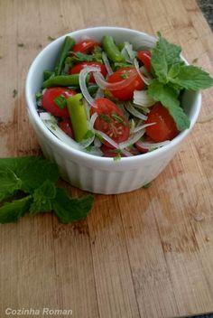 salada refrescante de tomate e vagem