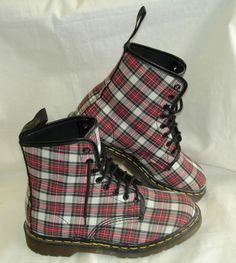 AWESOME Vintage DR. DOC MARTENS Red/White/Black/Yellow Plaid 8 1/2 Boots EUC #DrMartens #FashionAnkle
