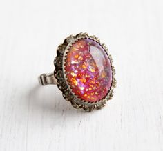 Vintage Faux Opal Rhinestone Ring - Size 7 1940s Silver Tone Statement Costume Jewelry / Foiled Art Glass by Maejean Vintage on Etsy, $42.00