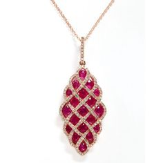 Effy Collection 14kt. Rose Gold Ruby And Diamond Pendant Necklace