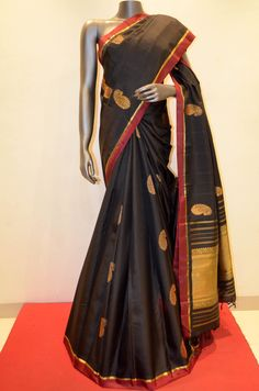 Designer Black Kanjeevaram Silk With Fine Zari Product Code: AA214810 To Shop Online Click here: http://www.janardhanasilk.com/Designer-Black-Kanjeevaram-Silk-With-Fine-Zari?search=AA214810