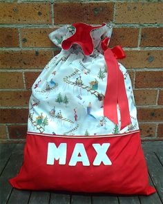 """ Custom-made Name Santa Sacks "" . Diy Christmas Sacks, Christmas Bags, Christmas Gifts For Kids, Winter Christmas, Christmas Crafts, Christmas Trees, Personalised Santa Sacks, Personalized Christmas Gifts, Christmas Sewing Projects"