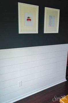 DIY Shiplap Walls - Sypsie Designs DIY Shiplap Inspired Wall Tutorial: An Easy and Inexpensive Proje Pantone, Bunk Bed With Desk, Navy Walls, Dining Room Walls, Living Room, Floating Shelves Diy, Ship Lap Walls, Creative Home, Diy Wall
