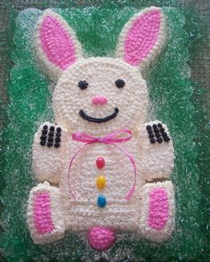 Easter Bunny Cake..My mom used to make a Bunny cake didn't have the whole body though just the round cake pan for face and ears...