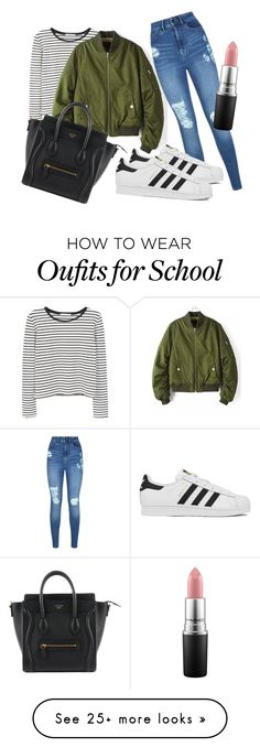 """""""School look #1"""" by ilsecamps on Polyvore featuring MANGO, Lipsy, adidas and MAC Cosmetics"""