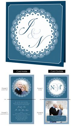The Lace Doily is Folded Square Photo Wedding Invitations with a Lace Design and a Couple Initials as a monogram on the front of the card.