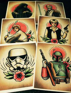 Star Wars Traditional Tattoo Flash Set 3 by ParlorTattooPrints, $35.00