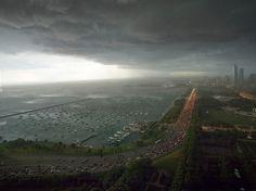 Storm rolling in over Lake Shore Drive, 2010, Chicago. Ken Tanaka.    http://calumet412.tumblr.com/post/21782044312/storm-rolling-in-over-lake-shore-drive-2010