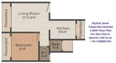 Sales: 7428091724   Skylink Jewel offers 1 BHK unique & well crafted apartments with all the modern amenities. The Carpet Area of 1 BHK units ranges from 370 - 485 Sq. Ft. The price of 1 BHK flats starts from 29 Lacs onwards. This configuration consists of 1 Bedroom, 1 Bathroom, 2 Balcony, living room, kitchen and dining room.  The project is well equipped with all modern amenities and 24 x 7 security service to facilitate the needs of the residents. Room Kitchen, Dining Room, Navi Mumbai, Site Visit, Security Service, Master Plan, All Modern, Ranges, Apartments