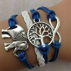 8c8362f75aff encantos hechos a mano árbol elefante Knit cuero cuerda pulsera de cadena  de los brazaletes de regalo. alta calidad regalos dk