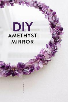 DIY Home Decor Project Idea: Amethyst Crystal Mirror