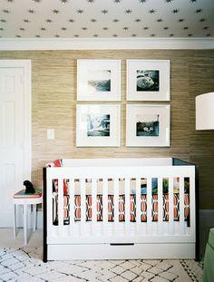 nursery beni rug, grasscloth walls, black and white photos