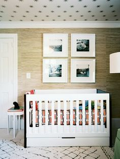 gender neutral nursery - love the grasscloth & star ceiling