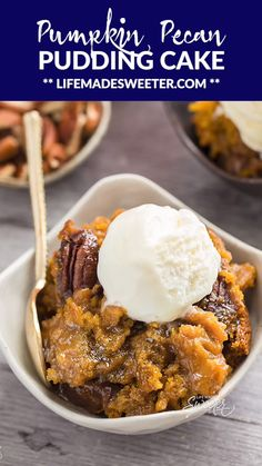 Slow Cooker Pumpkin Pecan Pudding Cake – an easy crock-pot dessert perfect for freeing up your oven. Like a hot fudge sundae cake but full of warm and cozy spices with a delicious sauce that forms beneath the cake. Slow Cooker Desserts, Slow Cooker Cake, Crockpot Dessert Recipes, Crock Pot Desserts, Vegan Recipes, Slow Cooker Bread Pudding, Crock Pots, Crockpot Meals, Dinner Recipes