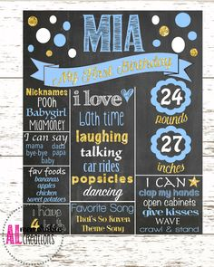 Girl's First Birthday Chalkboard/Blue and Gold Glitter Chalkboard/First Birthday Poster/Baby's 1st Birthday/Personalized Milestones/Custom by ALMemorableCreations on Etsy