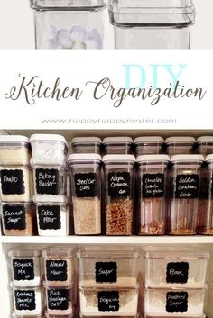 Organizing with Container Store Products is rewarding and fun. This organizing project also includes DIY homemade chalkboard labels. Organizing with Cont Pantry Organization Labels, Pantry Labels, Container Organization, Closet Organization, Pantry Ideas, Kitchen Ideas, Organization Ideas, Canning Labels, Pantry Storage