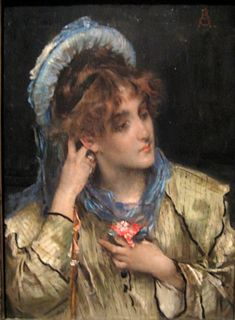 Girl Holding a Nosegay: Date Unknown - Alfred Leopold Stevens