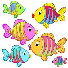 Cartoon Sea Animals, Cartoon Fish, Fish Drawing For Kids, Mermaid Clipart, Scrapbook Images, Fish Coloring Page, Rock Painting Patterns, Fish Drawings, School Decorations