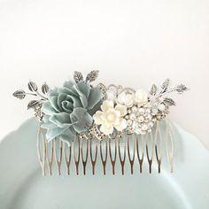 Dusky Blue Wedding Comb Sterling Gray Mercury Blue by Jewelsalem