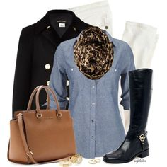 Black Riding Boots and Animal Print Infinity Scarf :)
