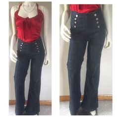 J & company high waist sailor jeans 27 fit 26 sz 2 Very high waist with buttons and side zipper. They say 27 but they are too small for me  I couldn't get them zipped so a size 26 or 2 will fit. there is a little give but no stretch. They are pretty long at 44 3/4 inches from the belt line. Inseam 33 1/2 inches. The waist measured across at 13. If you are tall & skinny these are so awesome! J Brand Jeans Flare & Wide Leg