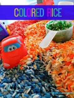 Colored rice preschool sensory activities #preschool #coloredrice #kidsactivities Ducks 'n a Row