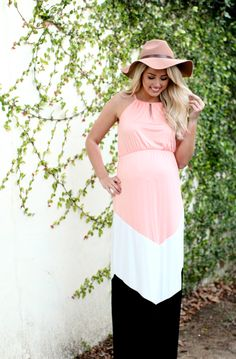 A colorblock maternity maxi dress just in time for spring! Look and feel beautiful in fresh tones and modern flair this season!