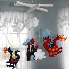 Childrens Dragon Mobile Boys Bedroom Nursery Decor -- AH! Room Themes, Nursery Themes, Nursery Decor, Nursery Ideas, Themed Nursery, Nursery Art, Dragon Mobile, Dragon Nursery, Viking Baby