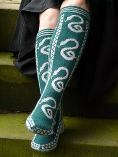 Slytherin Pride Socks by Ann Kingstone. Pattern 4.00GBP on Ravelry at http://www.ravelry.com/patterns/library/slytherin-pride-socks